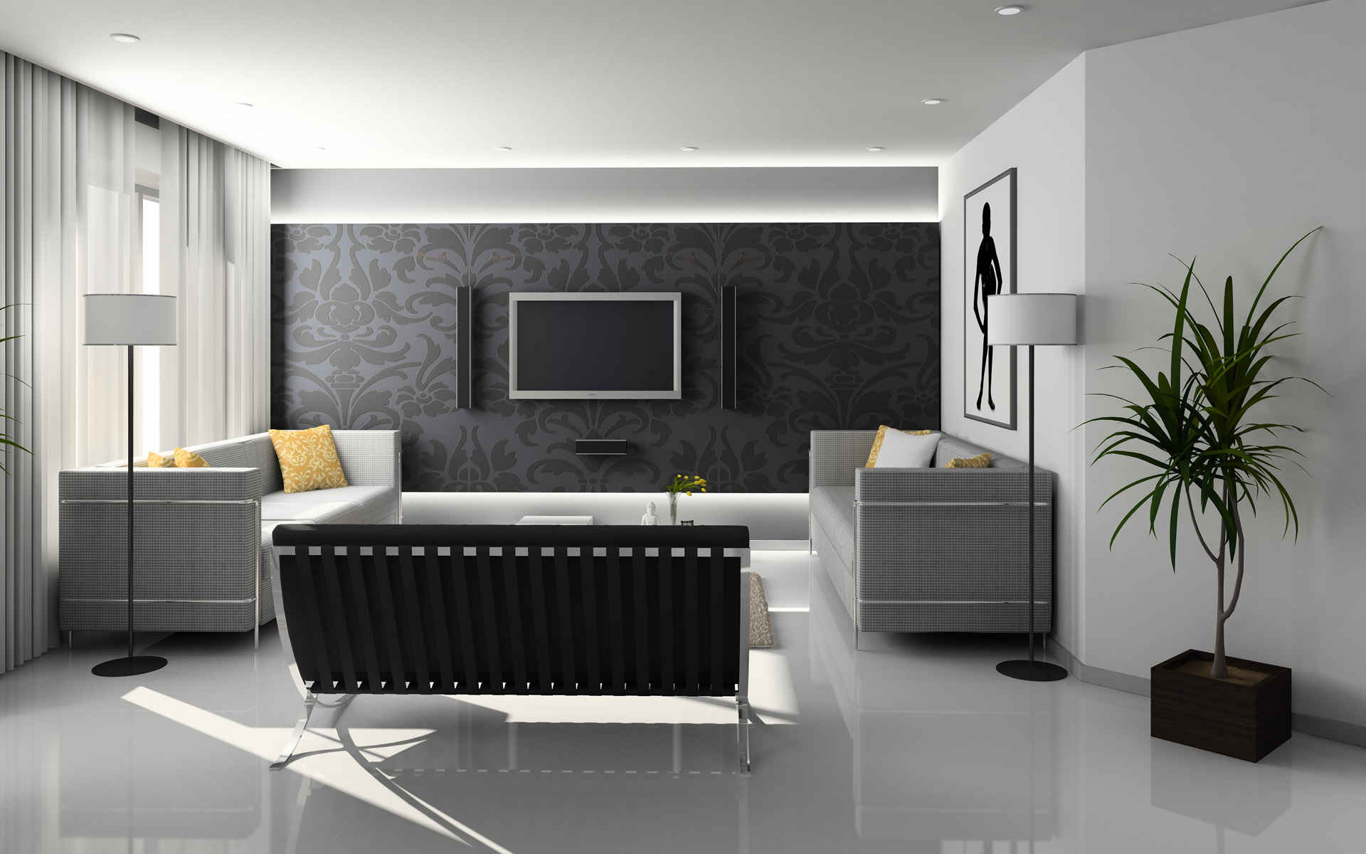 Black And White Living Room Designs   Looxhouse Com